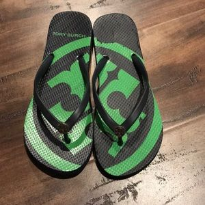 Tory Burch green flip flops